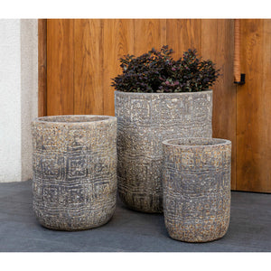 Eero Aged Tall Planter in Weathered Grey – Set of 3
