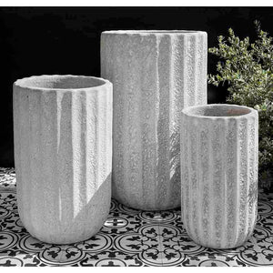 White Tall Fluted Coral Terra Cotta Planters – Set of 3