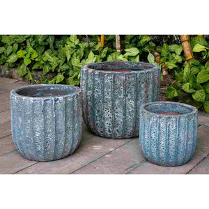 Aqua Blue Fluted Coral Terra Cotta Planters – Set of 3