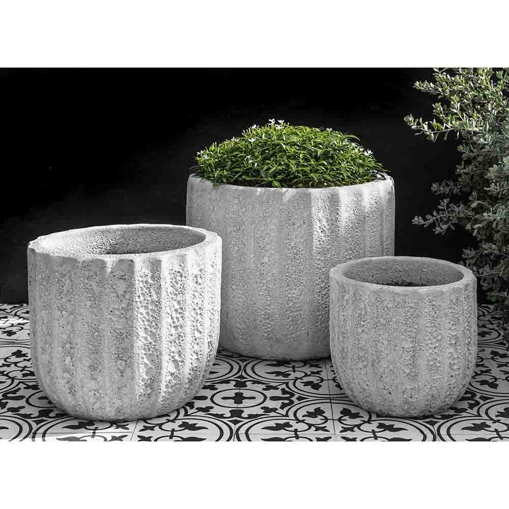 White Fluted Coral Terra Cotta Planters – Set of 3