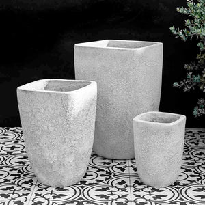 White Faux Coral Tapered Square Terra Cotta Planters – Set of 3