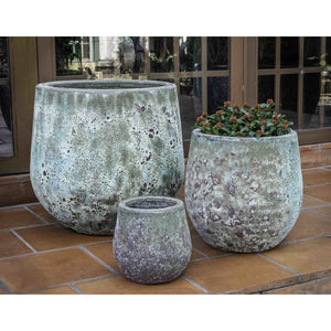 Baleares Round Distressed Planter – Verdigris Set of 3
