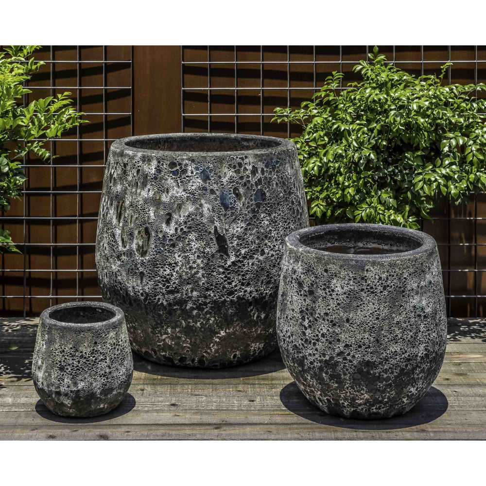 Baleares Round Distressed Planter – Fossil Grey Set of 3