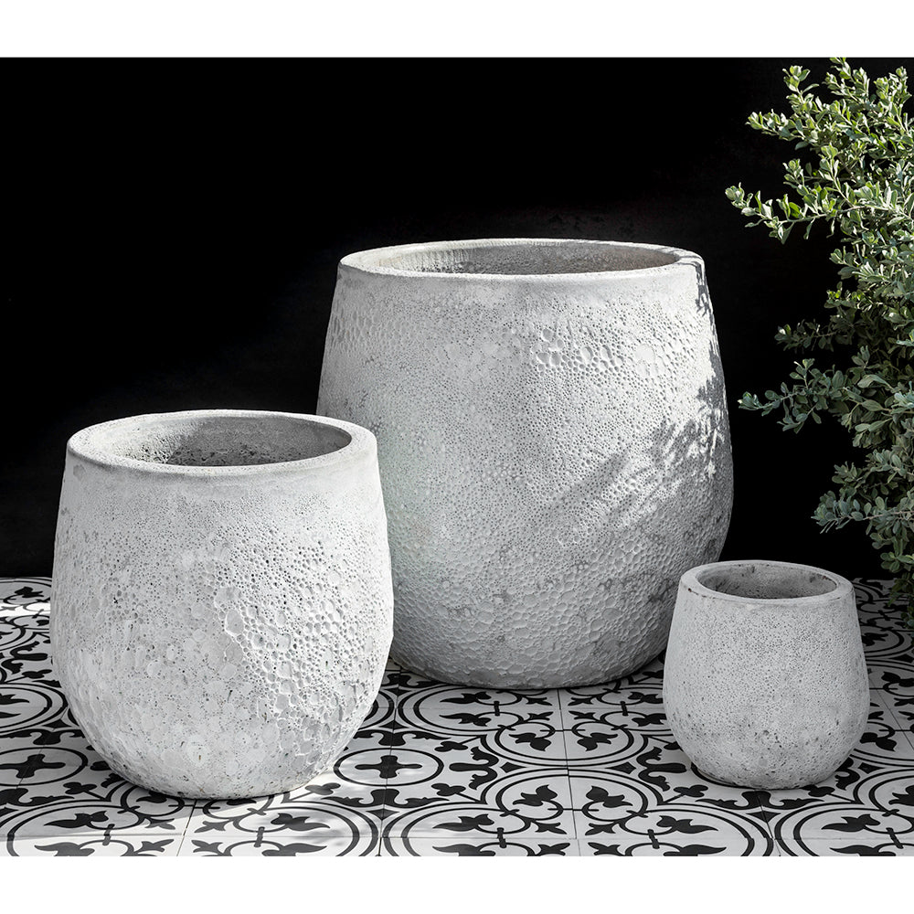 White Faux Coral Glazed Barrel Planters – Set of 3