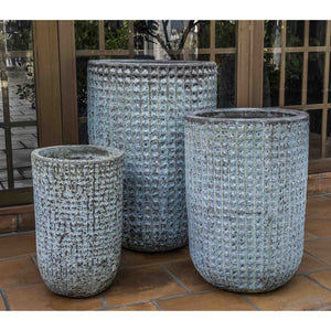 Escada Tall Textured Planter in Verdigris – Set of 3