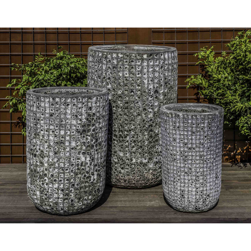 Escada Tall Textured Planter in Fossil Grey – Set of 3