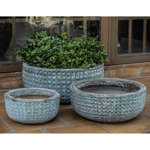 Escada Low Textured Planter in Verdigris – Set of 3
