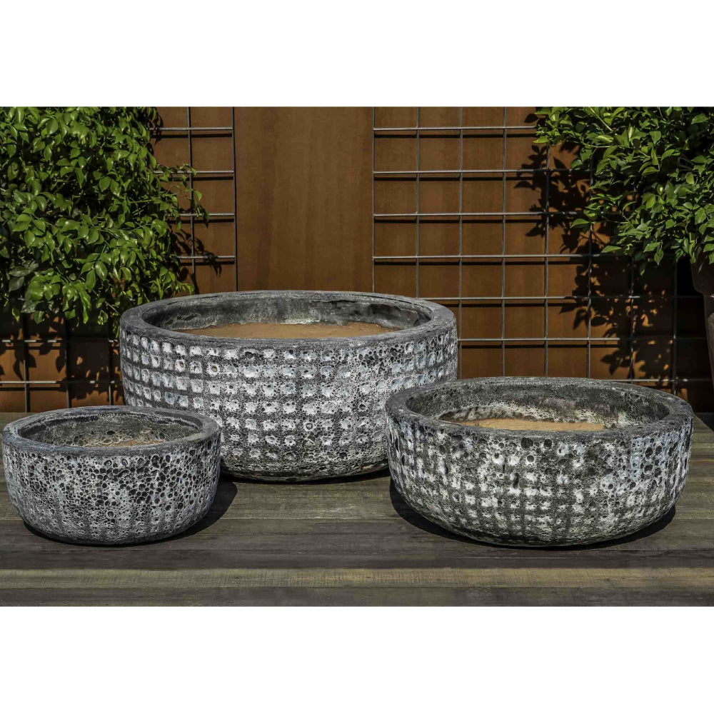 Escada Low Textured Planter in Fossil Grey – Set of 3