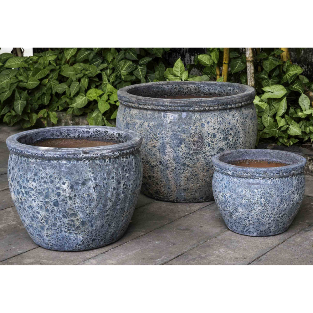 Saona Round Lipped Planter in Aqua Blue – Set of 3