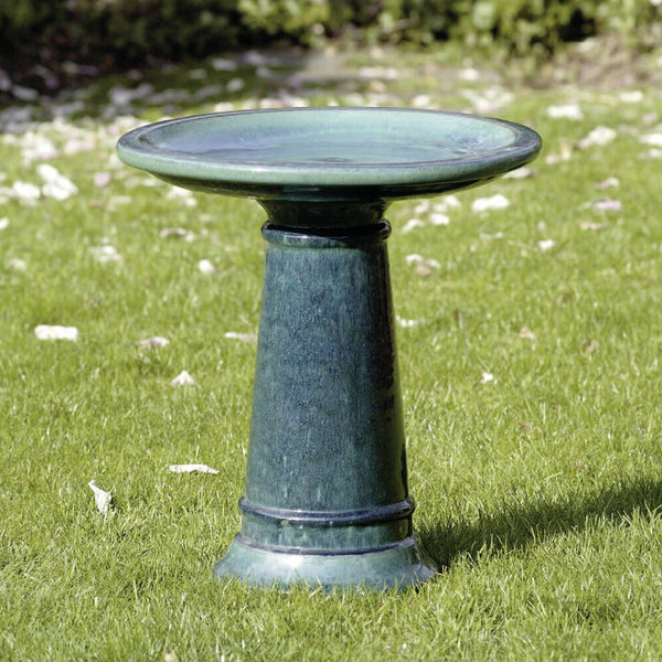 Glazed Terra Cotta Bird Bath – Blue Green