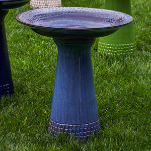 Glazed Terra Cotta Bird Bath with Geometric Border – French Blue