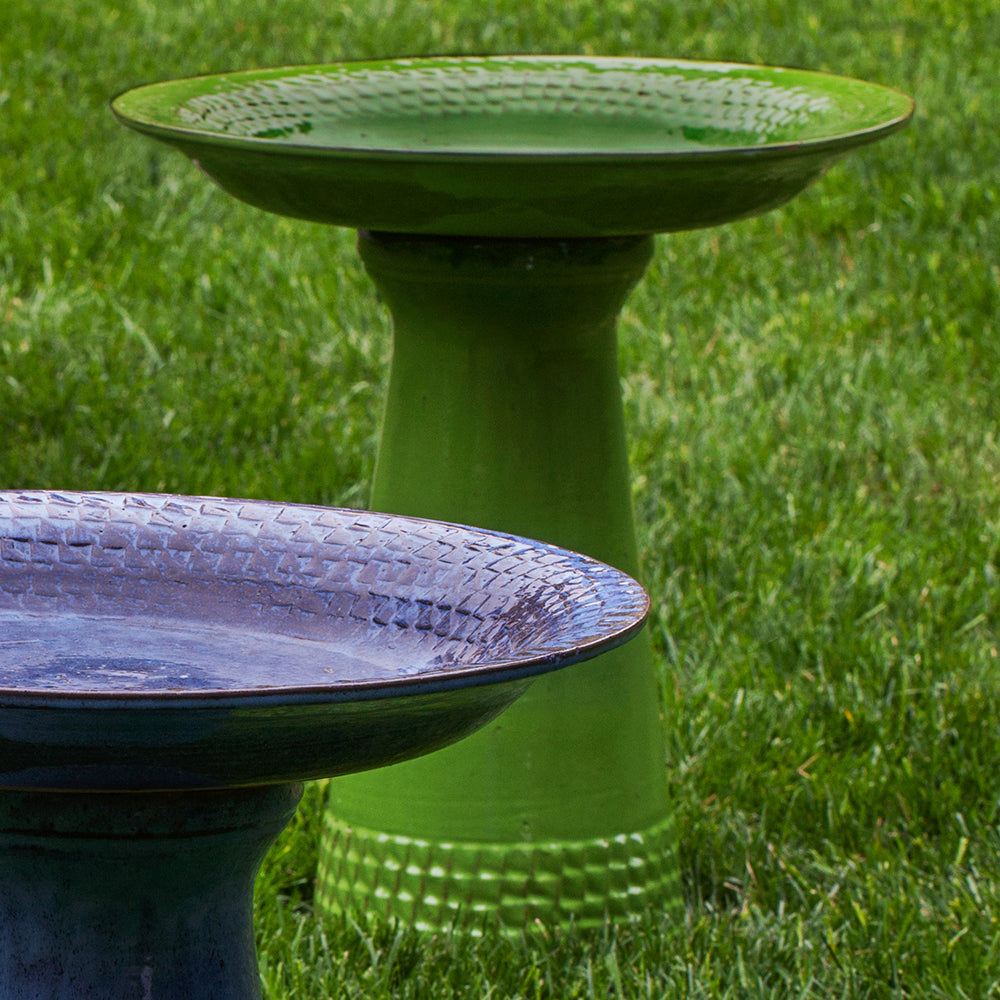 Glazed Terra Cotta Bird Bath with Geometric Border – Green