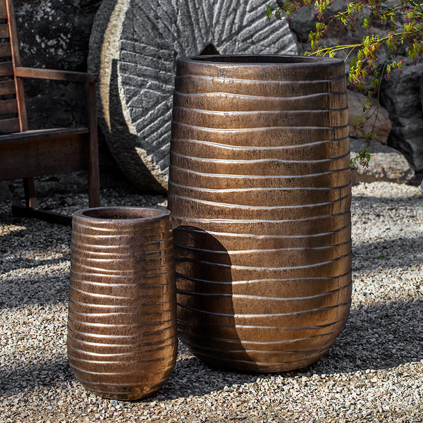 Tall Bronze Finish Wave Pattern Terra Cotta Planters – Set of 2
