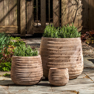 Antico Brown Wave Pattern Terra Cotta Planters – Set of 3