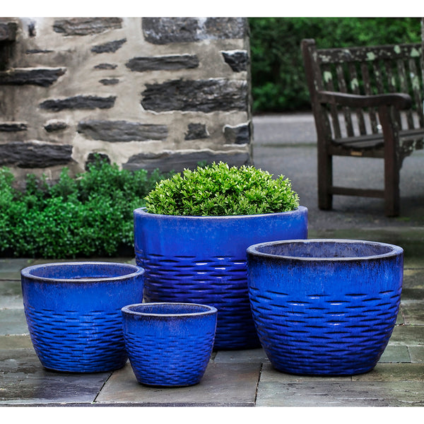 Riviera Blue Scored Terra Cotta Planters – Set of 4