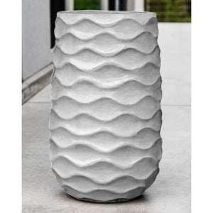 Tall Wave Pattern Glazed Terra Cotta Planter – Snow