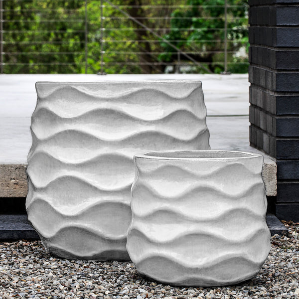 Snow Wave Pattern Glazed Terra Cotta Planters – Set of 2