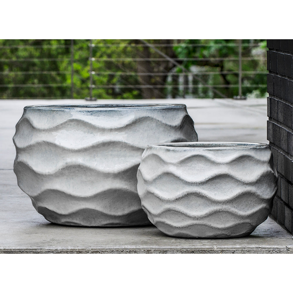 Snow White Undulating Relief Terra Cotta Planters – Set of 2