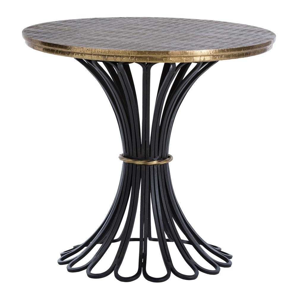 Arteriors Draco Embossed Brass Side Table