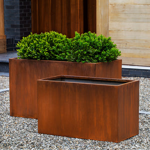 Box Indoor/Outdoor Planter - Rust Steel (Set of 2)