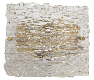 Swan Curved Glass Sconce, Large in Clear Textured Glass & Antique Brass Metal