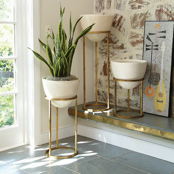 Cone Planters with Stands – White & Gold Leaf