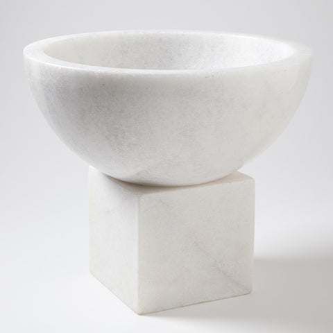 Elements Marble Bowl on Tilt Block – White