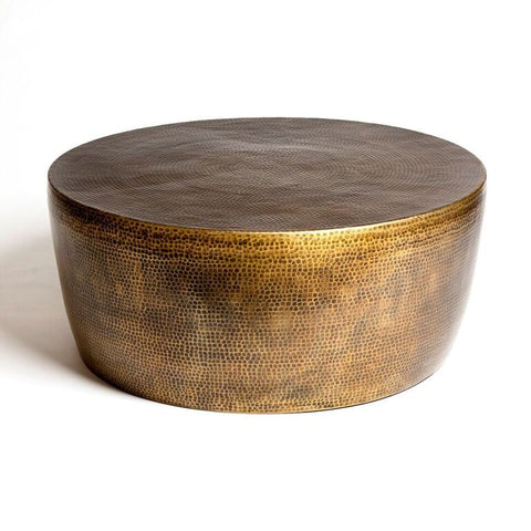 Round Hammered Cocktail Table - Antique Brass