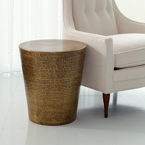 Hammered Side Table - Brass