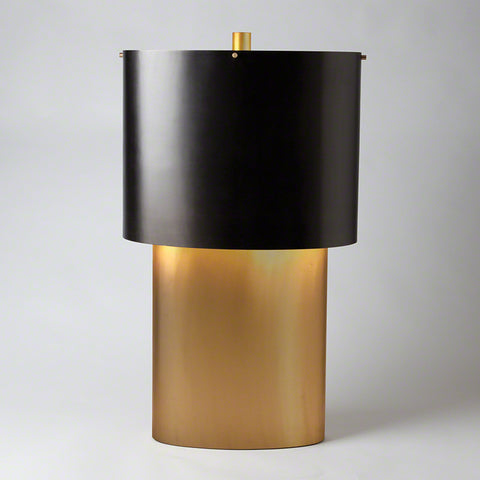 Large Oval Table Lamp – Bronze & Gold