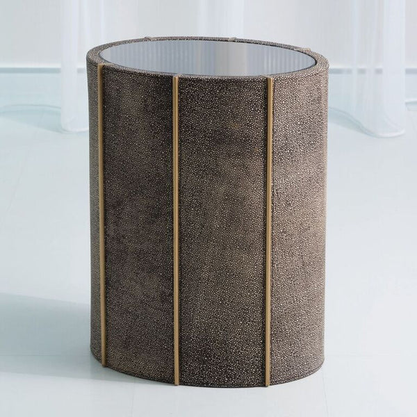 Oval Faux Shagreen Side Table