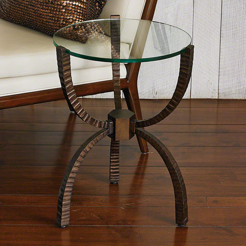 Bowed Leg Accent Table - Bronze
