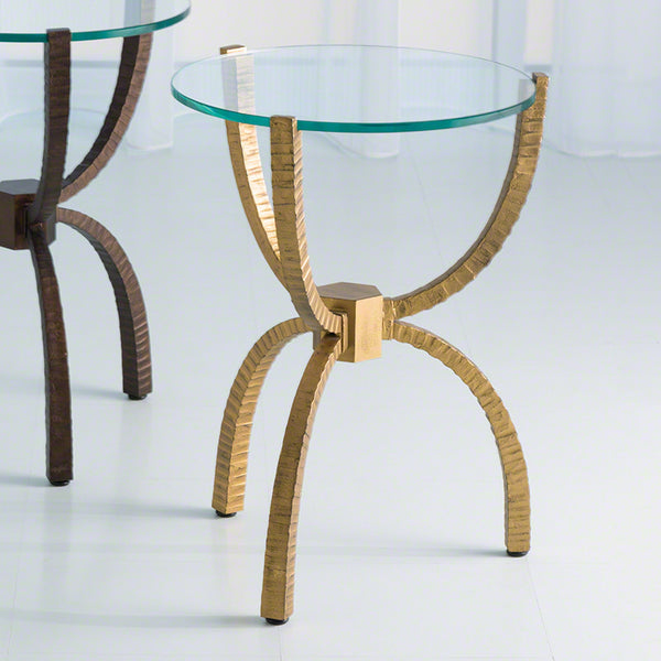 Bowed Leg Accent Table - Gold