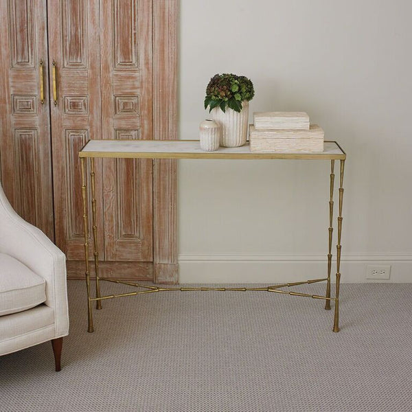 Spike Console Table – Gold & Marble