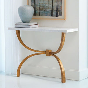 Bowed Leg Console – Gold & Marble