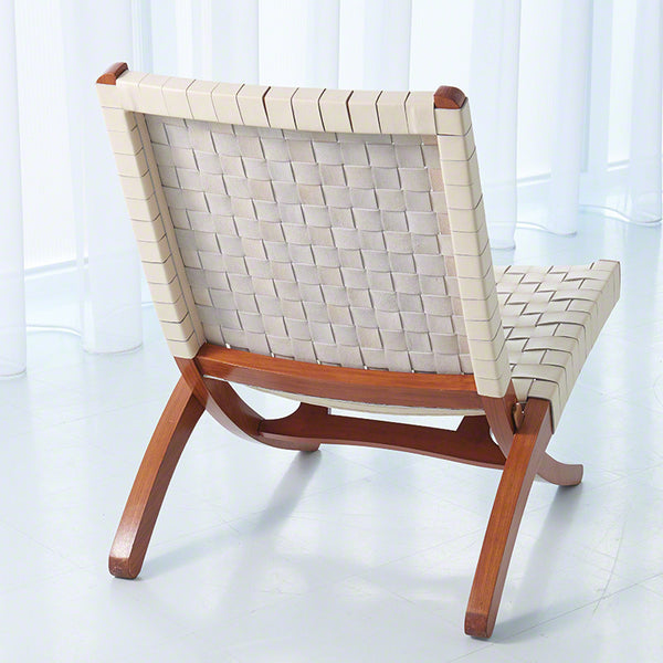 Safari Woven Leather Chair – Ivory