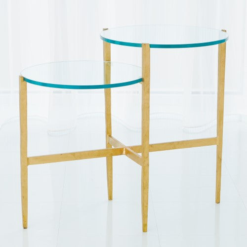 Two-Tiered Accent Table - Antique Gold