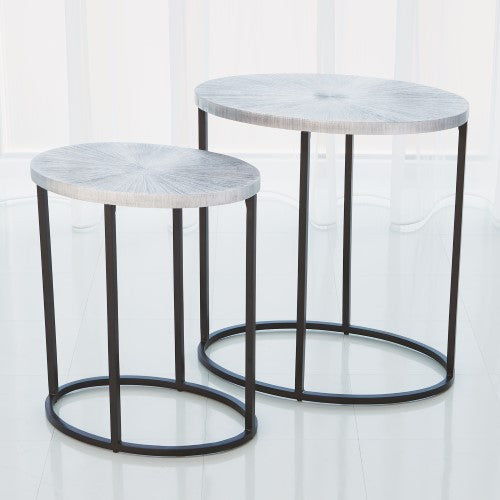 Attractive Striated Nickel Side Table U2013 Large Or Small