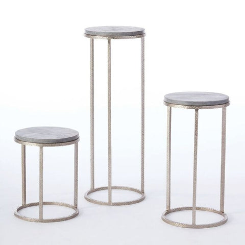 Round Pedestal Tables – Nickel & Grey Marble