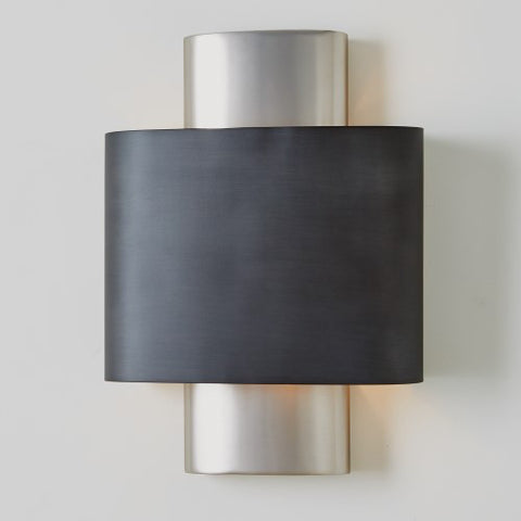 Curved Wall Sconce -Gunmetal & Silver