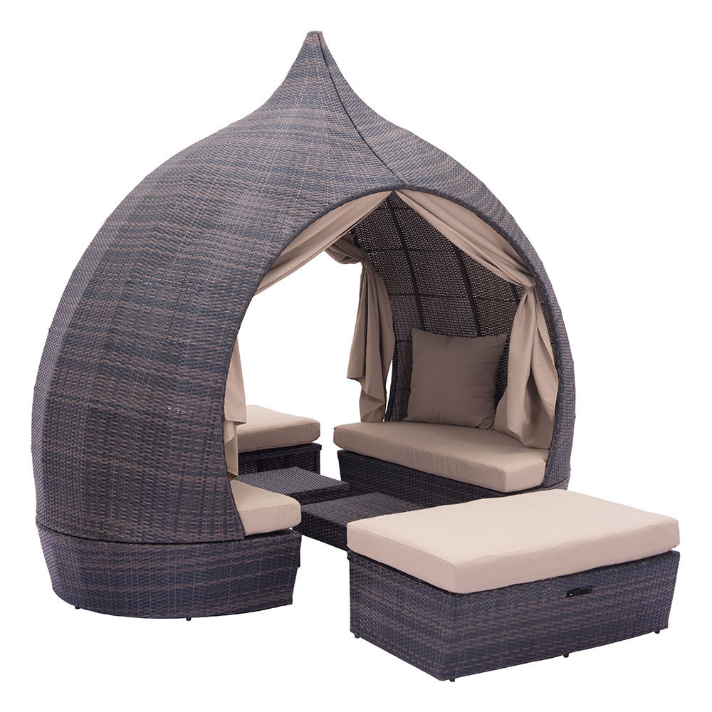 Resort Cabana Woven Lounger Set - Brown & Beige