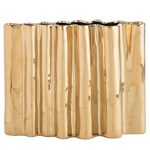Arteriors Howey Rippled Porcelain Vase – Gold Plated