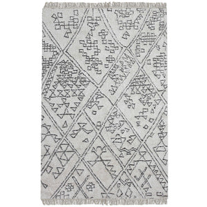 Campo Handwoven Tribal Design Cotton Rug – Ivory & Black