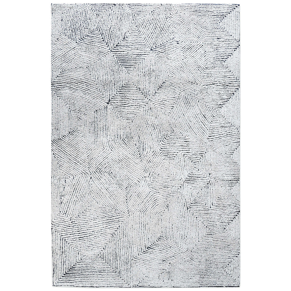 Maze Handwoven Tufted Wool Rug - Ivory & Denim