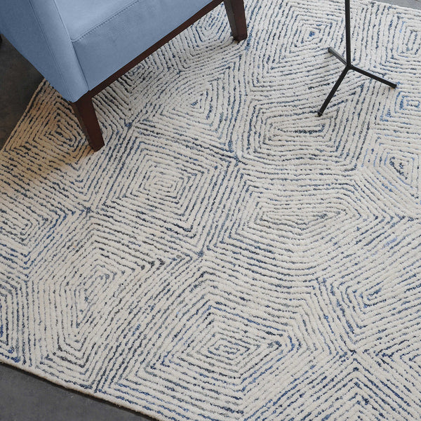 Maze Handwoven Tufted Wool Rug – Ivory & Denim