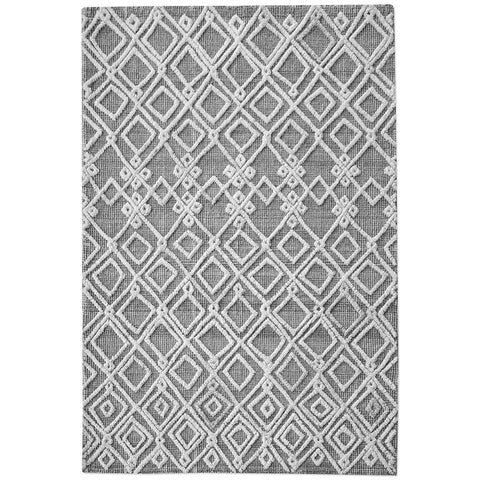 Sieano Handwoven Tribal Design Wool Rug – Gray & Ivory