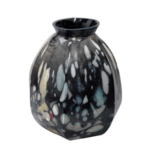 Abstract Multicolored Glass Vase – Wide