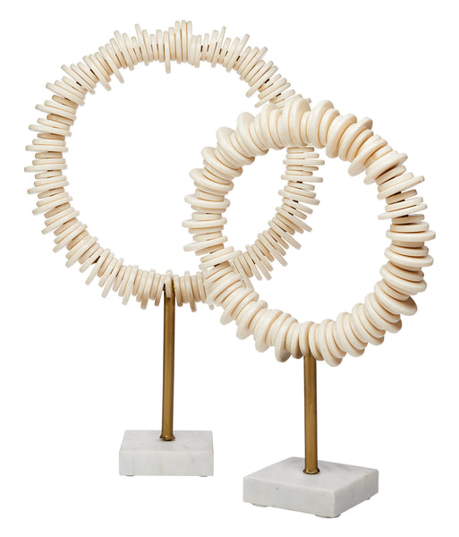 Arena Ring Sculptures (Set of 2) in Cream Resin