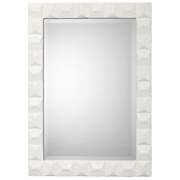 Large Mirror with Chiseled White Gesso Frame