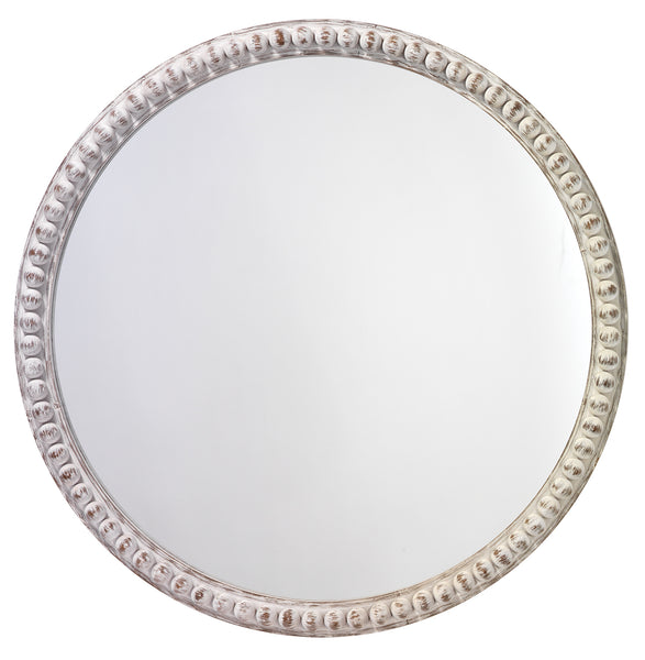 Audrey Beaded Mirror in White Wood